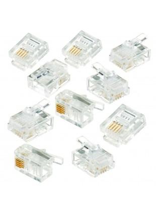 10 Plug Connettore RJ11 6P4C per Modem Telefono Router Fax Spina Modulare LIFE