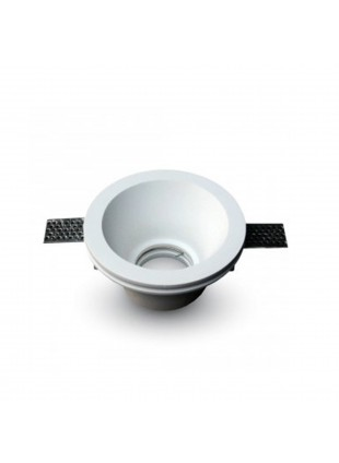 Portafaretto forma rotonda da incasso in gesso per lampade GU10 185x120x50 mm