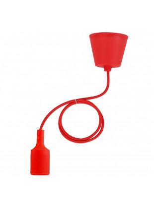 Portalampada a Sospensione E27 in Silicone Lampadario Cavo Rosso