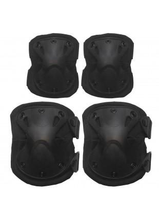 Set Ginocchiere Gomitiere di Protezione Protezioni per Softair Nere Exagon