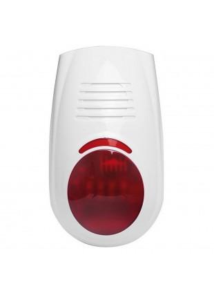 Sirena Fissaggio a Parete 110 decibel 12V Bianco Segnalatore Luminoso 433 Mhz
