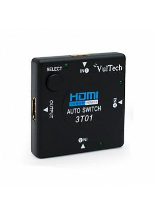 AUTO SWITCH 3 PORTE VIE AUTOMATICO HDMI HUB FULL HD 1080P VULTECH SW-01