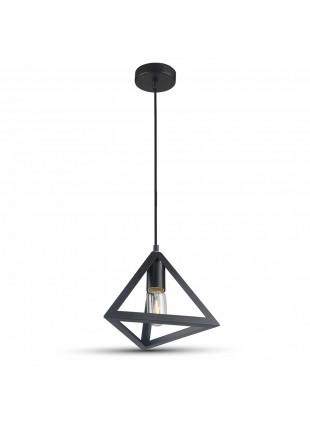 Lampadario Pendente in Metallo Nero Opaco Moderno Stilizzato Casa ufficio E27